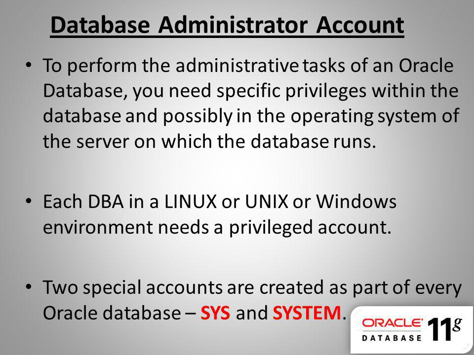 Database Administrator Account