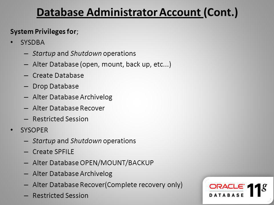 Database Administrator Account (Cont.)