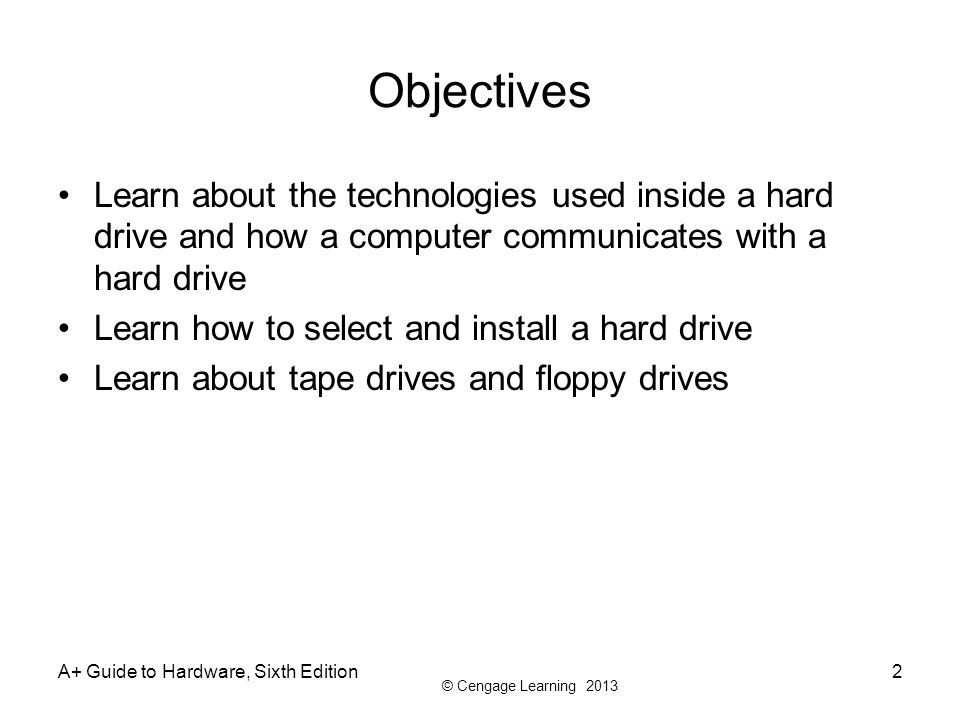 Objectives Learn about the technologies used inside a hard drive and how a computer communicates with a hard drive.