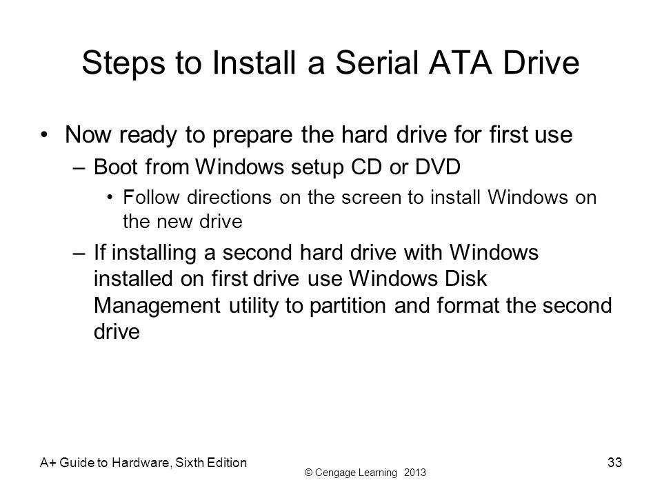 Steps to Install a Serial ATA Drive