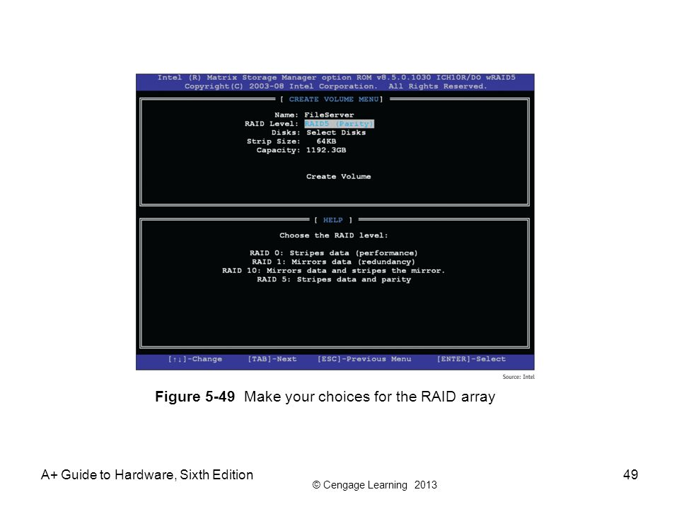 Figure 5-49 Make your choices for the RAID array
