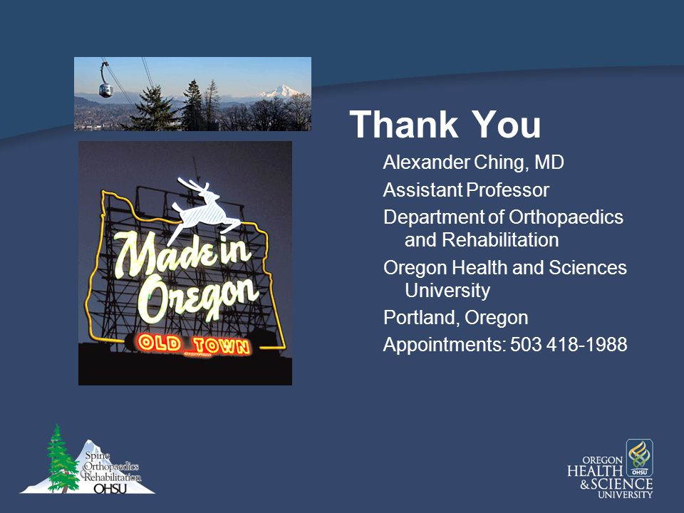 Thank You Alexander Ching, MD Assistant Professor
