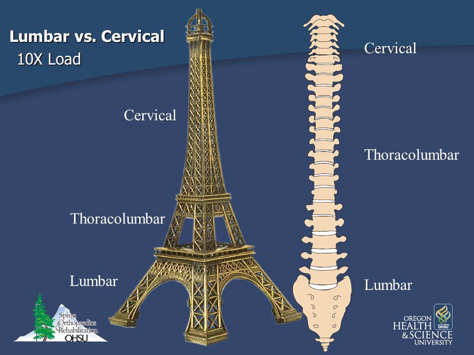Lumbar vs. Cervical 10X Load Cervical Cervical Thoracolumbar Thoracolumbar Lumbar Lumbar