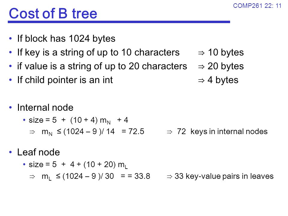 Cost of B tree If block has 1024 bytes