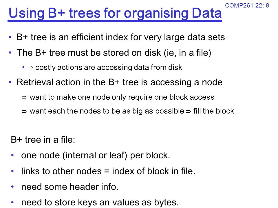 Using B+ trees for organising Data