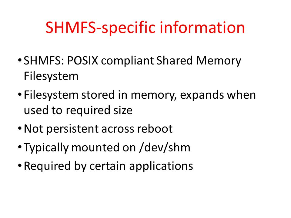 SHMFS-specific information