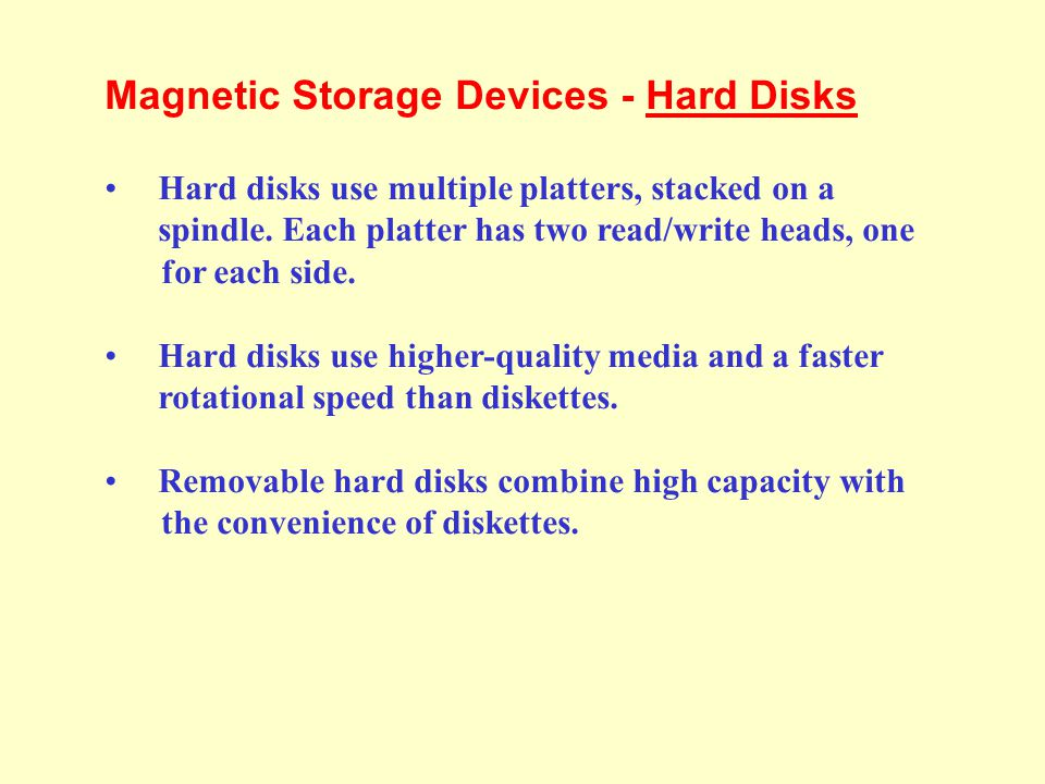 Magnetic Storage Devices - Hard Disks