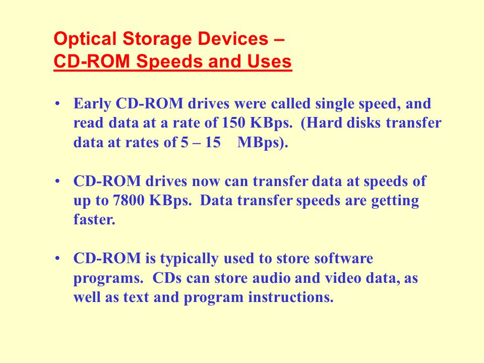 Optical Storage Devices – CD-ROM Speeds and Uses