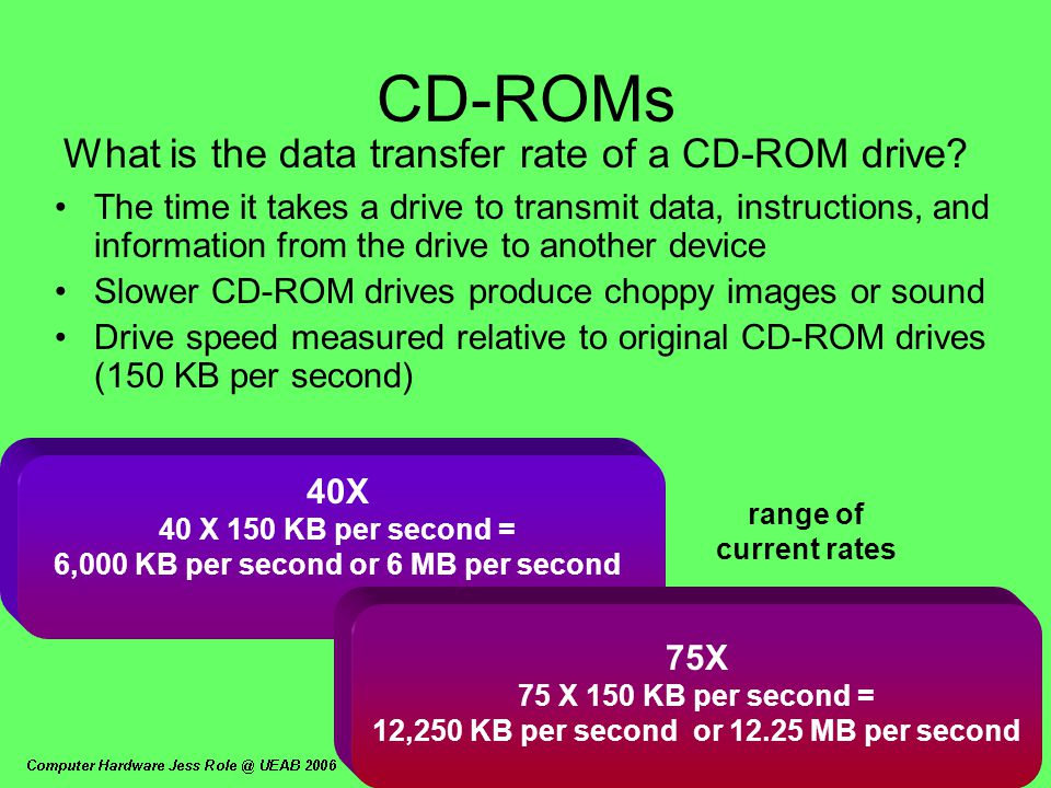 40X 40 X 150 KB per second = 6,000 KB per second or 6 MB per second