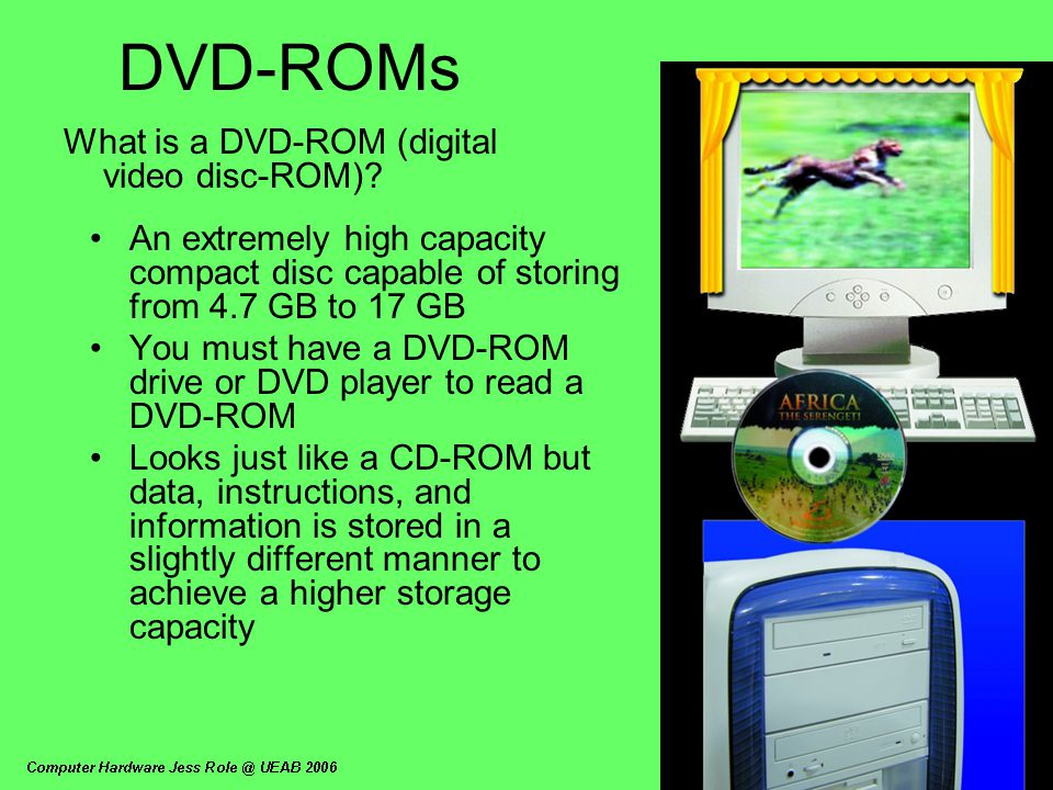 DVD-ROMs What is a DVD-ROM (digital video disc-ROM)