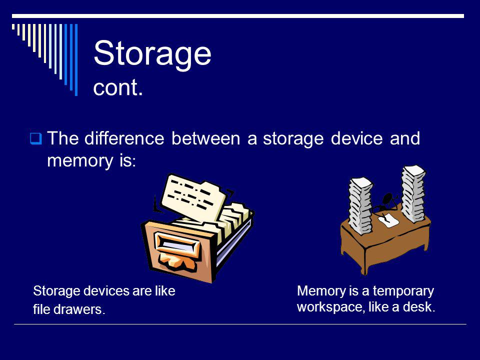 Storage cont. The difference between a storage device and memory is: