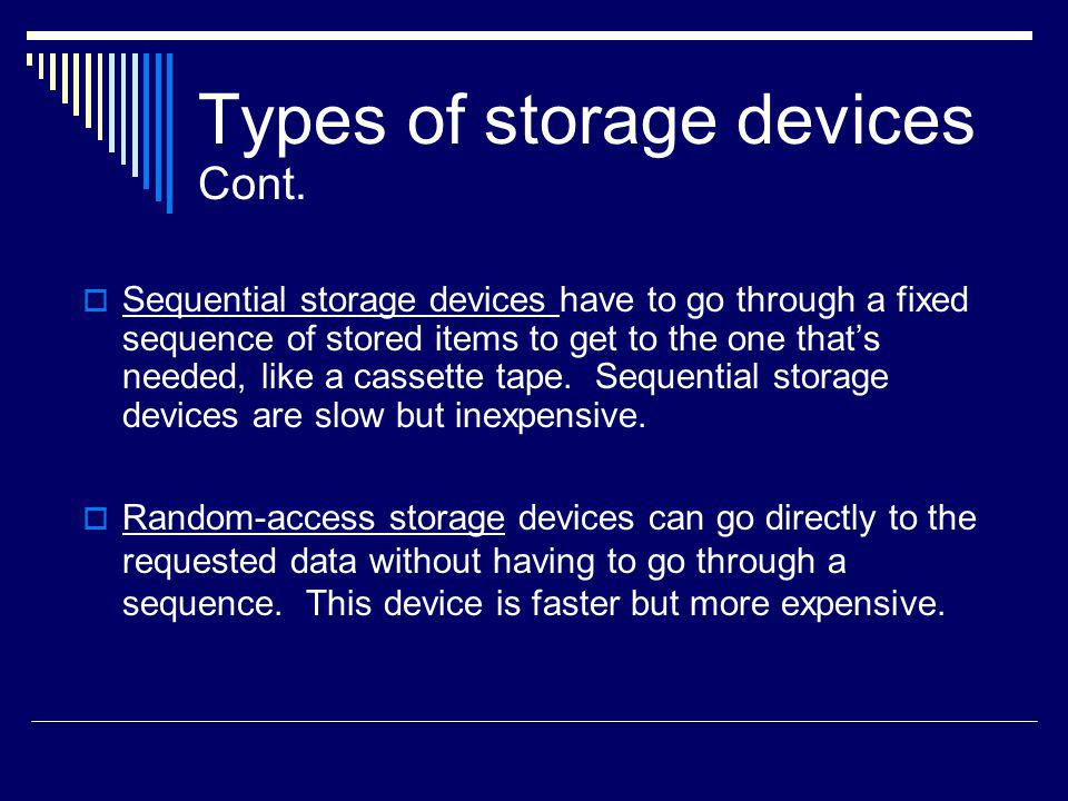 Types of storage devices Cont.