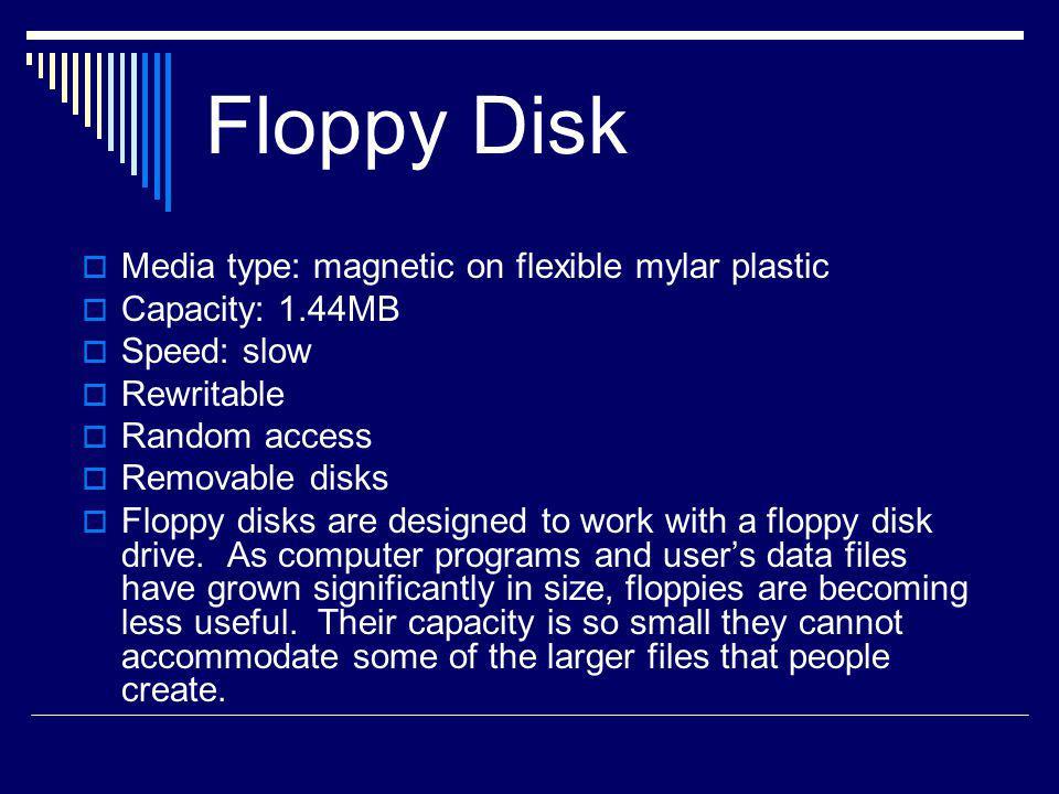 Floppy Disk Media type: magnetic on flexible mylar plastic