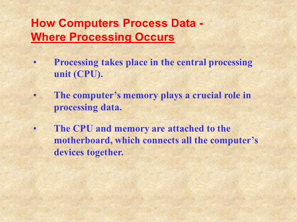 How Computers Process Data - Where Processing Occurs