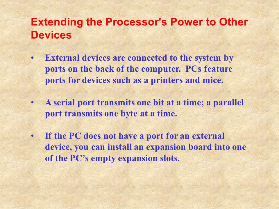 Extending the Processor s Power to Other Devices