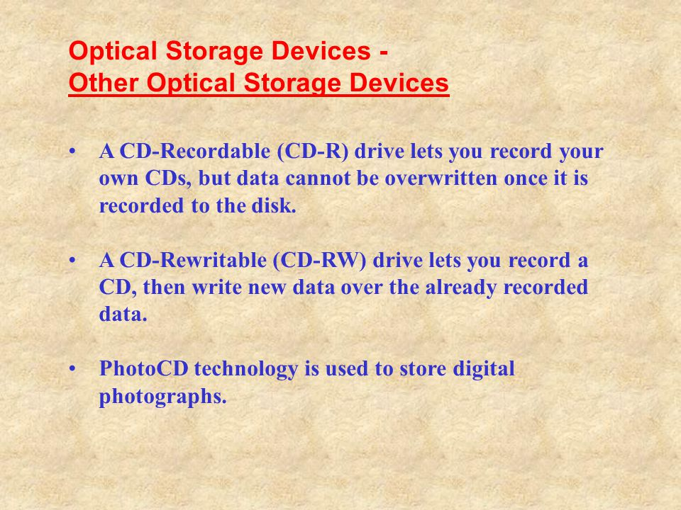 Optical Storage Devices - Other Optical Storage Devices