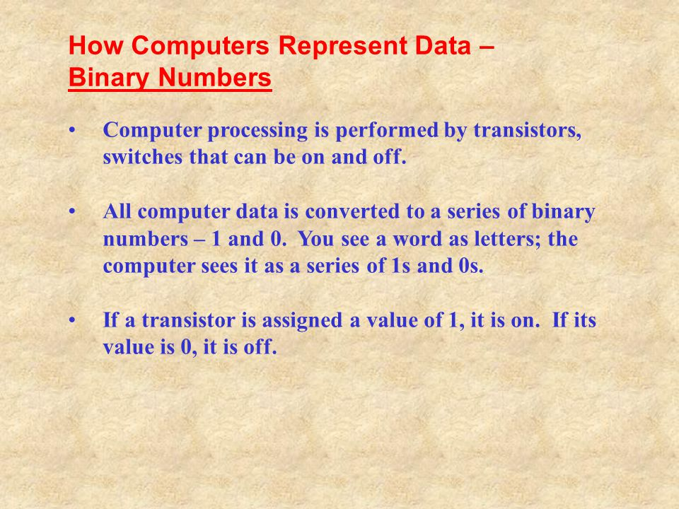 How Computers Represent Data – Binary Numbers