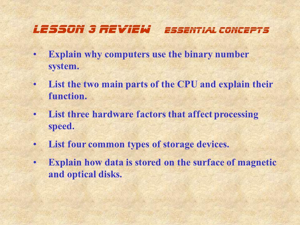 lesson 3 review Essential concepts