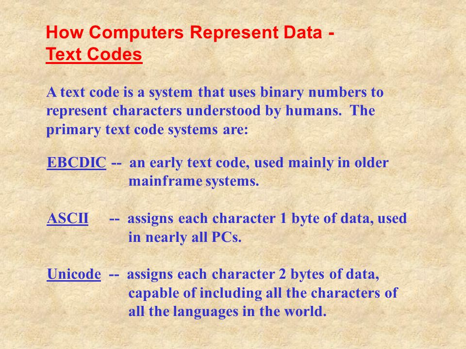 How Computers Represent Data - Text Codes