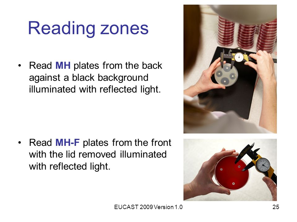 Reading zones Read MH plates from the back against a black background illuminated with reflected light.