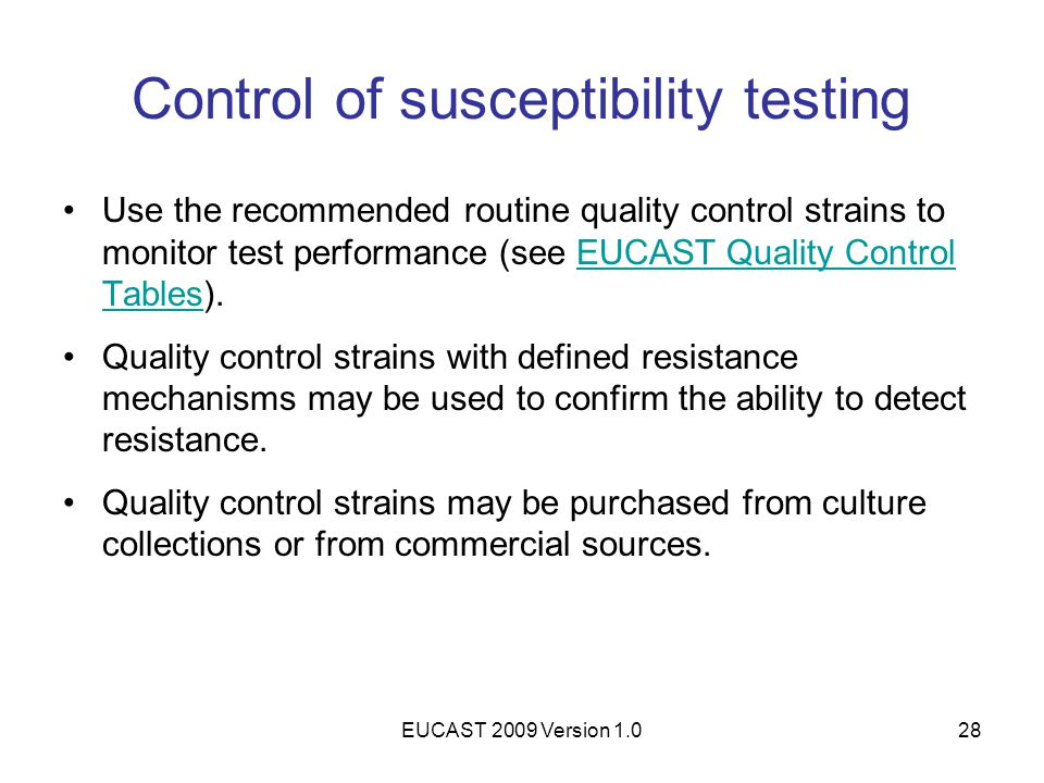 Control of susceptibility testing