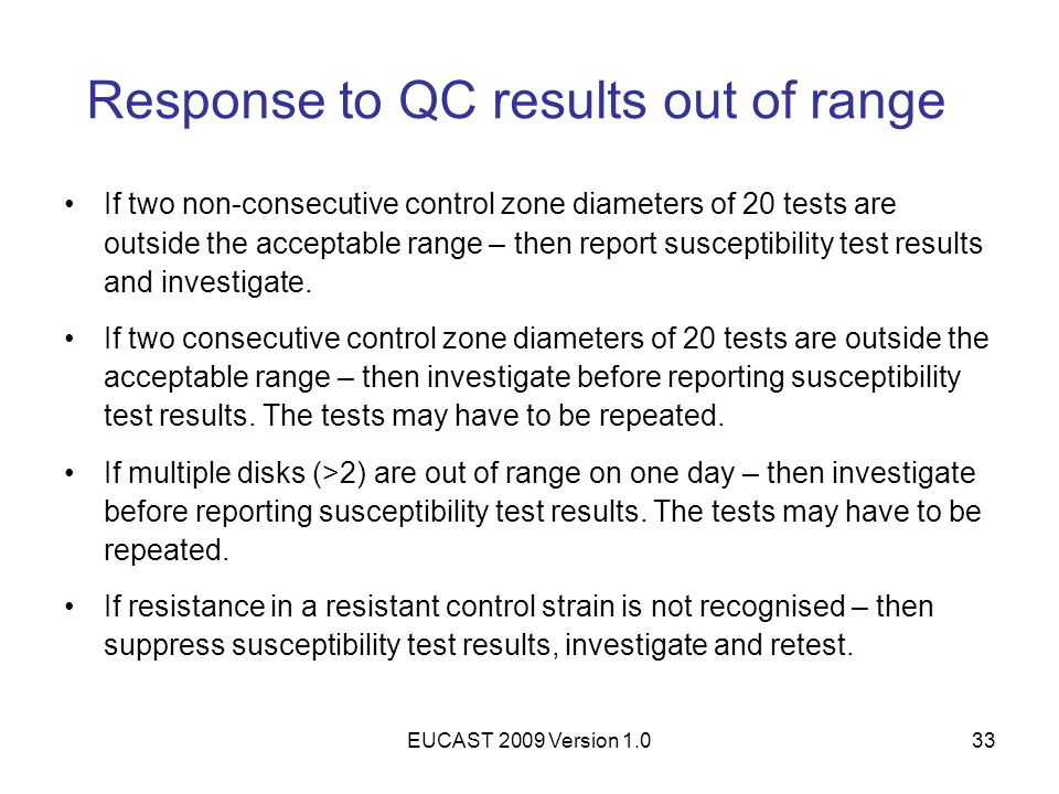 Response to QC results out of range