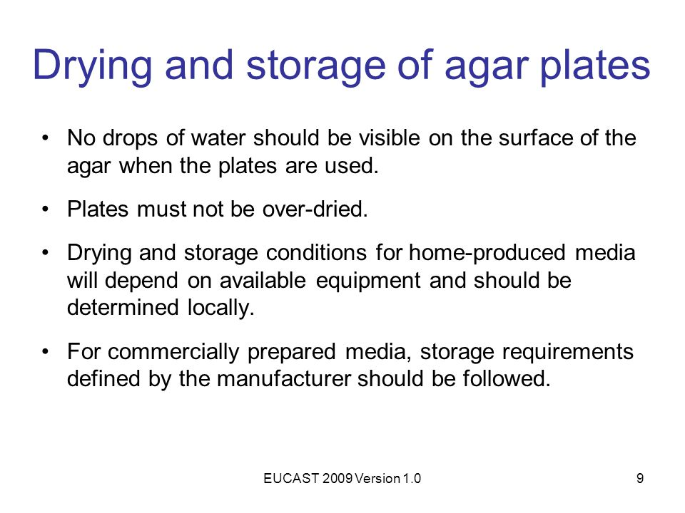 Drying and storage of agar plates