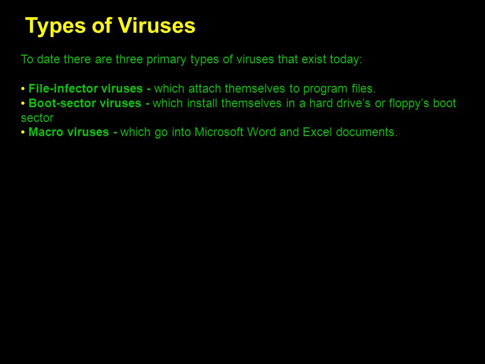 Types of Viruses To date there are three primary types of viruses that exist today: