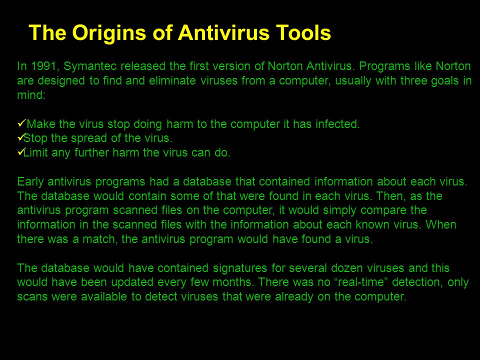 The Origins of Antivirus Tools