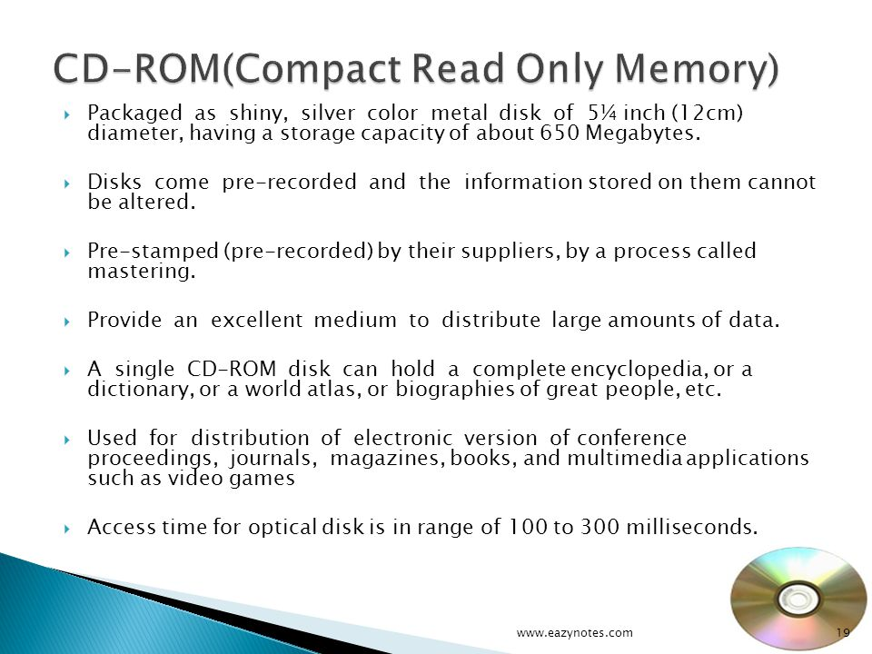 CD-ROM(Compact Read Only Memory)
