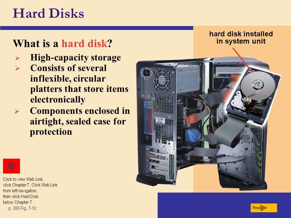 hard disk installed in system unit