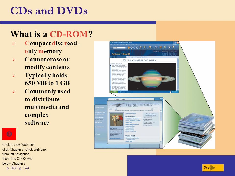 CDs and DVDs What is a CD-ROM Compact disc read-only memory
