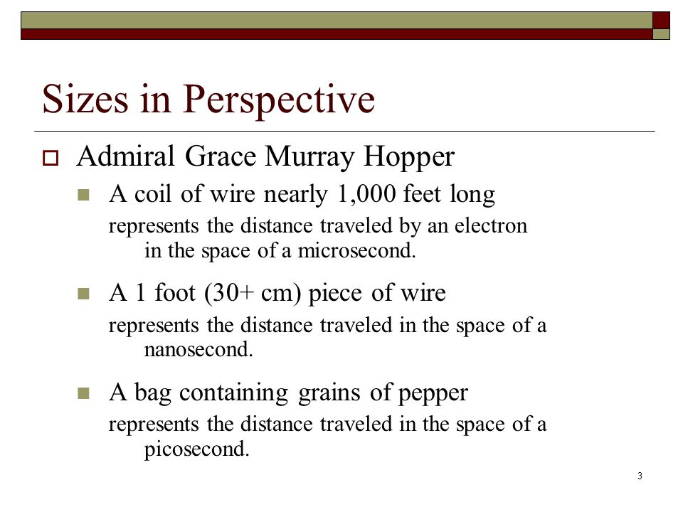 Sizes in Perspective Admiral Grace Murray Hopper