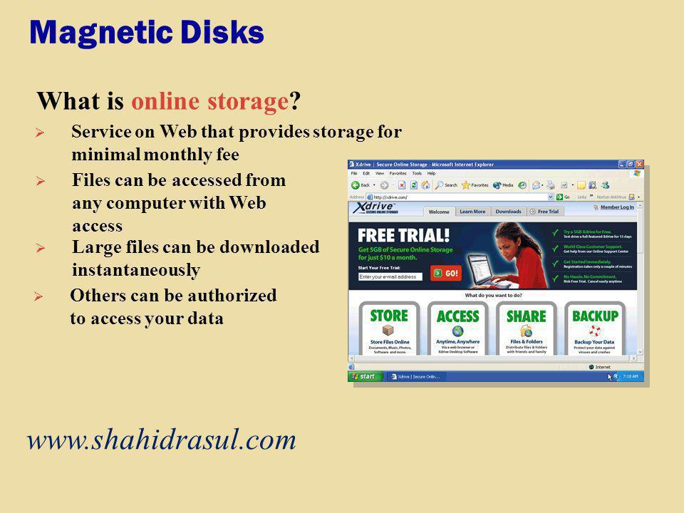 Magnetic Disks www.shahidrasul.com What is online storage