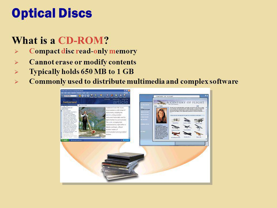 Optical Discs What is a CD-ROM Compact disc read-only memory