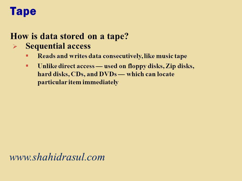 Tape www.shahidrasul.com How is data stored on a tape