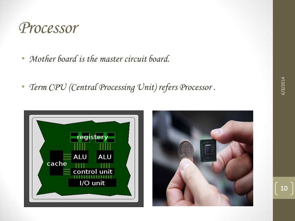 Processor Mother board is the master circuit board.