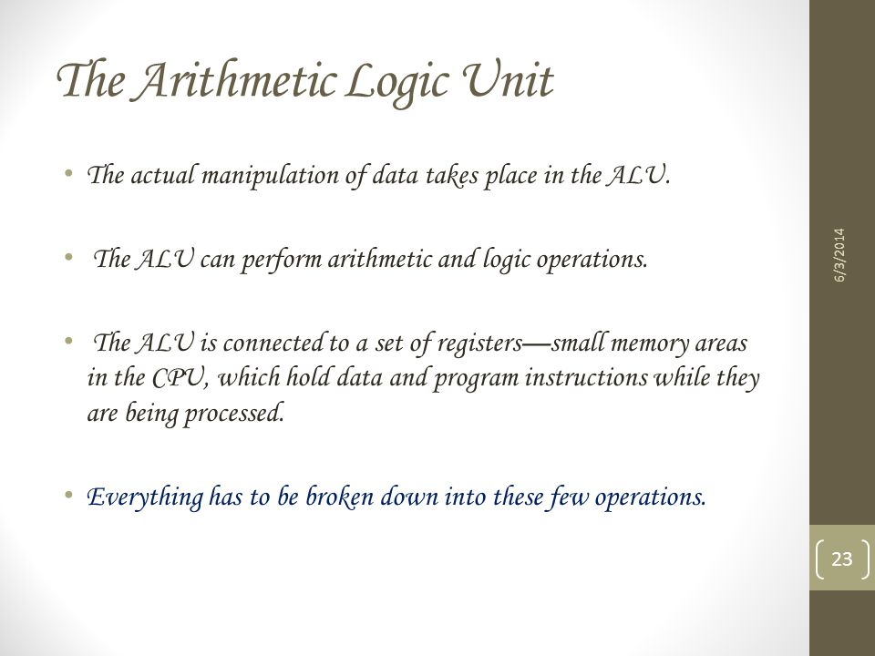 The Arithmetic Logic Unit