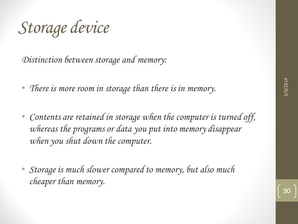Storage device Distinction between storage and memory: