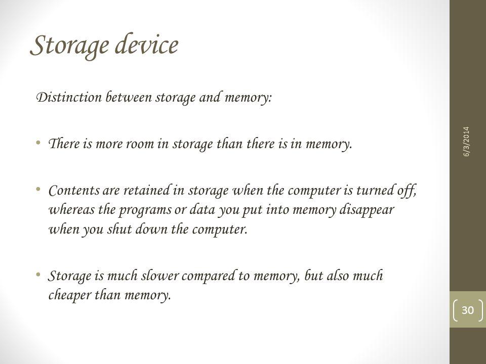 Storage device Distinction between storage and memory: