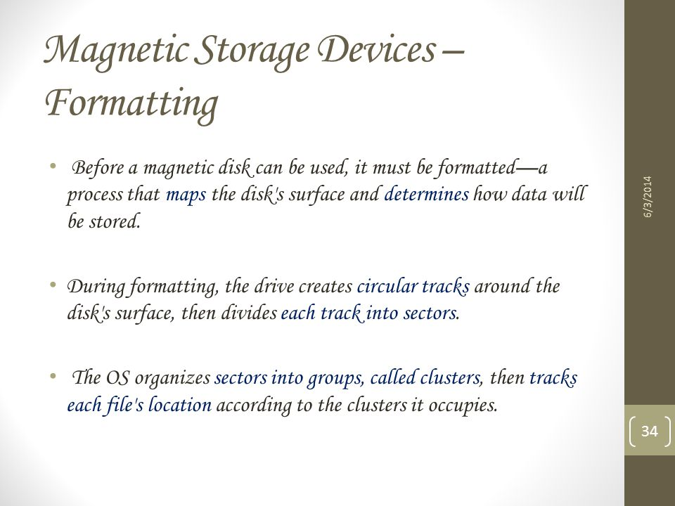 Magnetic Storage Devices – Formatting