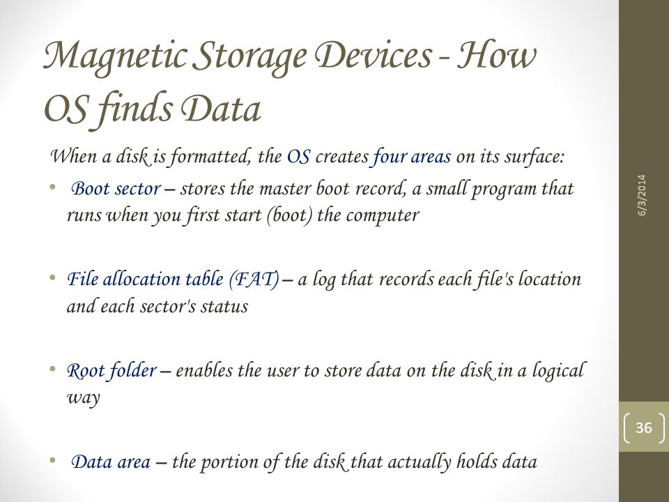 Magnetic Storage Devices - How OS finds Data