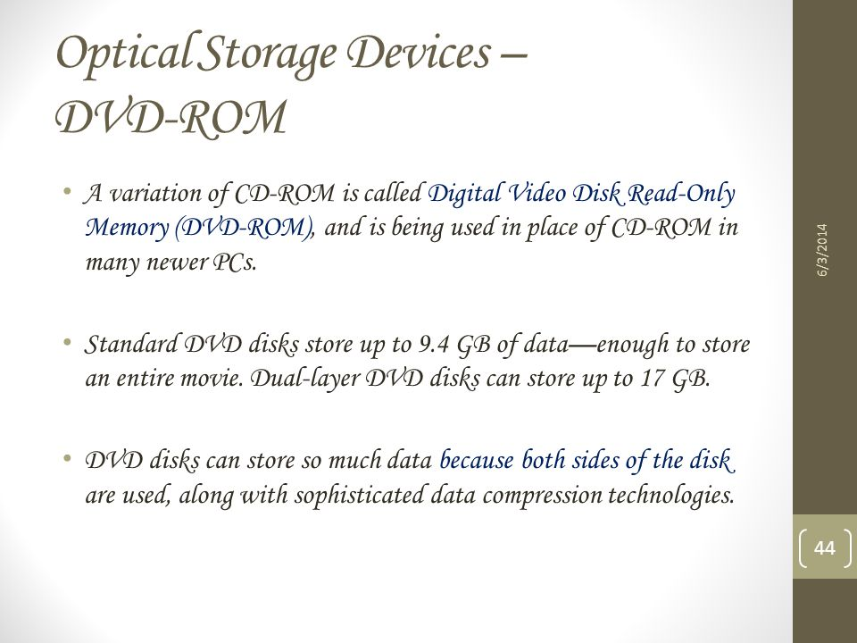 Optical Storage Devices – DVD-ROM