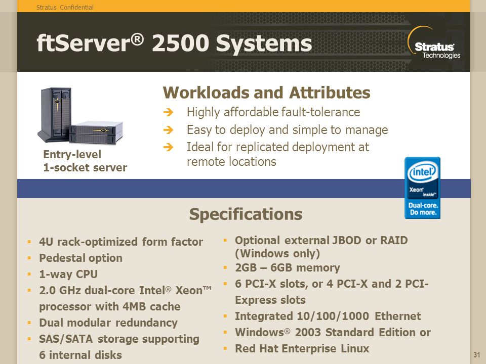 ftServer® 2500 Systems Workloads and Attributes Specifications