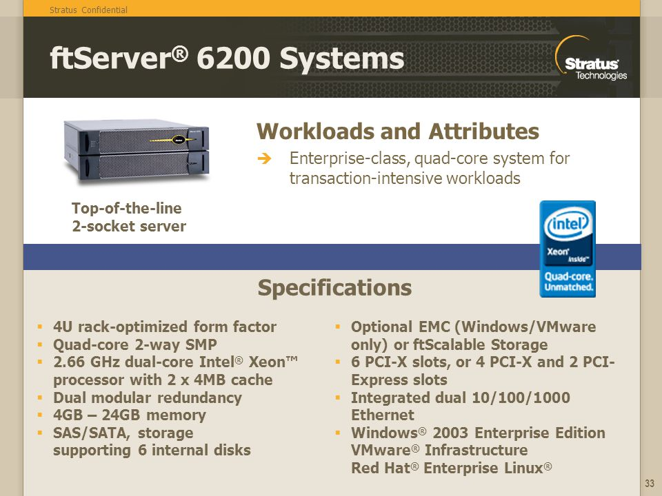 ftServer® 6200 Systems Workloads and Attributes Specifications