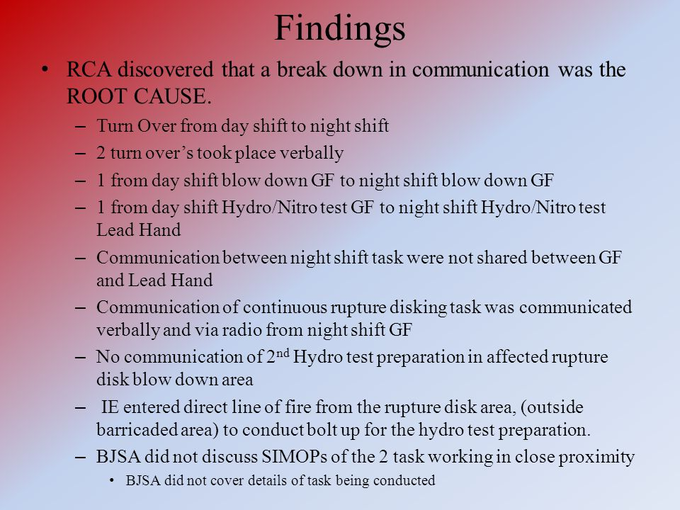 Findings RCA discovered that a break down in communication was the ROOT CAUSE. Turn Over from day shift to night shift.