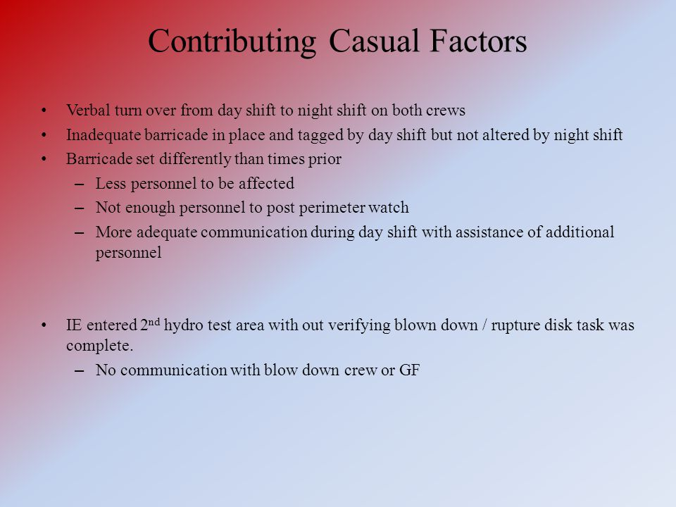 Contributing Casual Factors