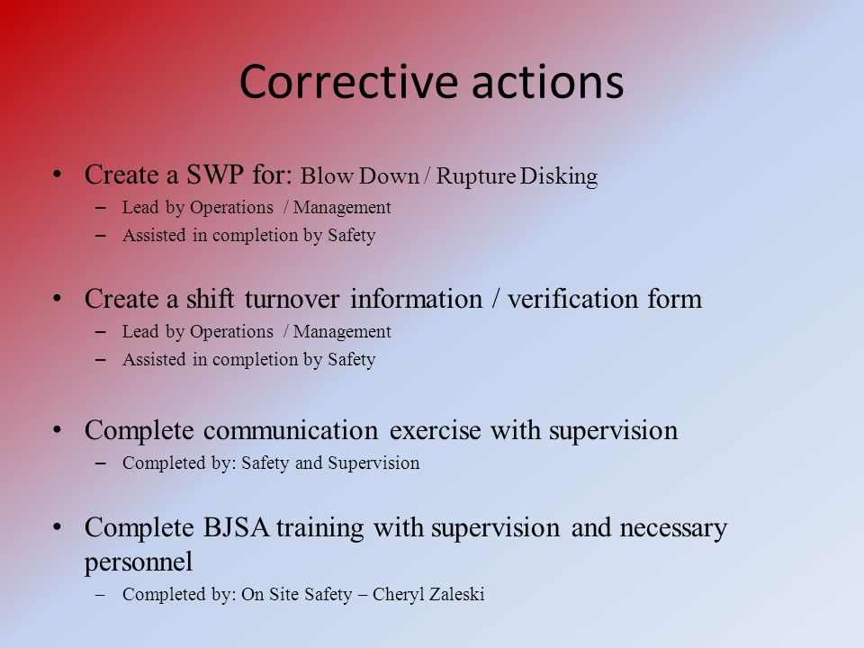 Corrective actions Create a SWP for: Blow Down / Rupture Disking