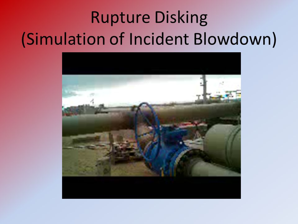 Rupture Disking (Simulation of Incident Blowdown)