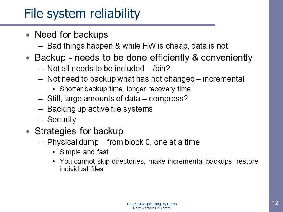 File system reliability